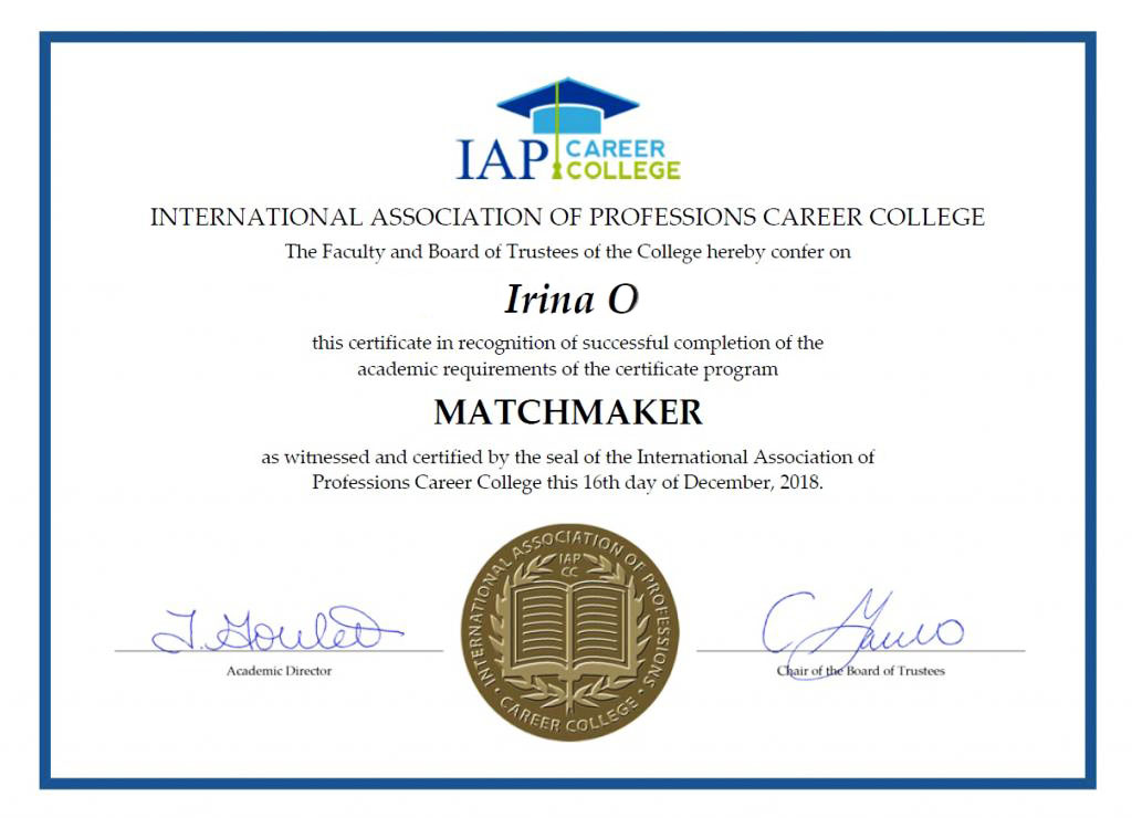 International Matchmaker Certificate
